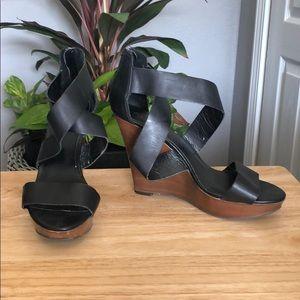 Aldo Black Wedged-Heel Cross Strap Sandal Size 11